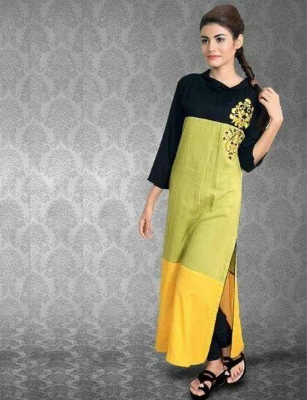 #COTTON tri color KURTI