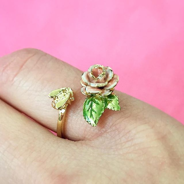 :: Bee & Vintage Rose Open Ring    20% Off ::  To celebrate Valentines Day, we are offering 20% off our popular Vintage Rose & Scenes of Nature stories until 14th February, in-store & online! ❤️✨ . . . #BillSkinner #vintage #vintagerose #scenesofnature #swarovski #lace #embroidery #craft #stilllifephotography #fashionphotography #enamel #happyvalentinesday #spreadlove
