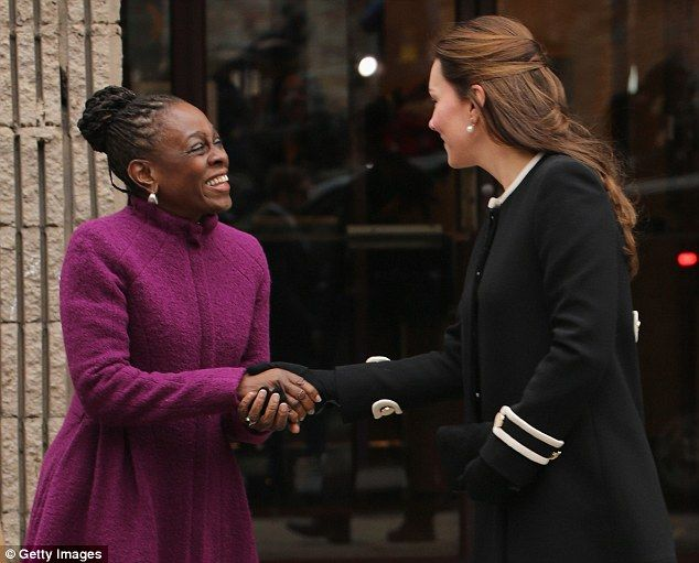 Meet and greet: Judging by Kate's sprightly appearance as she greeted First Lady of New York, Chirlane McCray, it seems the ambulance is purely a precaution