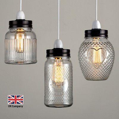 Vintage Retro Stye Glass Jar Ceiling Pendant Light Lamp Shade Lampshades Shades