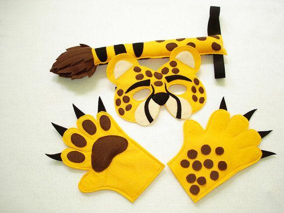 Children S Safari Animal Cheetah Felt Mask Tail And Paws