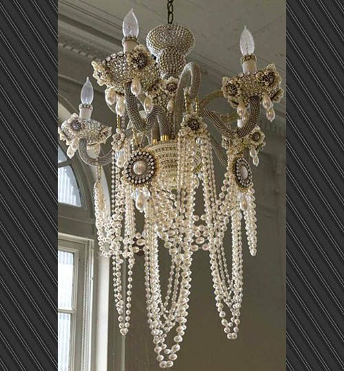 Glam rock chandelier by erickson beamon    Wow. If Betsey Johnson ever made chandeliers, they would most certainly look like this. Brought to you by the couture jewelry designers at Erickson Beamon, this Glam Rock Chandelier says that you like to light up your room, but you choose to do it in all-out style.    Featuring Japanese pearls as well as Swarovski crystals, the Erickson Beamon Glam Rock Chandelier manages to not only be functional but fun. Price USD 22,500.00: Lights, Decor, Ideas, Dreams, Shabby Chic, Pearl Chandelier, Glam Rocks, Pearls Chandeliers, House
