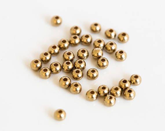 2768 Brass beads 3.8 mm Small beads Ball beads Brass spacer