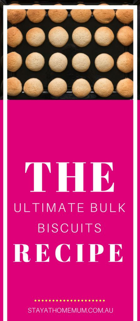If you're a biscuit lover who likes to have biscuits on hand for unexpected guests and hungry kids, you need The Ultimate Bulk Biscuits Recipe. It's a recipe that, for less than $10, yields well over 100 biscuits. #recipes #biscuits #cookies #cookierecipe #bulkcooking