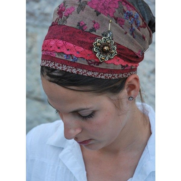 Sara Attali Pink & Red Lace Turban/Sinar Tichel ($69) ❤ liked on Polyvore featuring accessories, hair accessories, brown, lace hair accessories, long hair accessories, tie turban, red turban and pink hair accessories