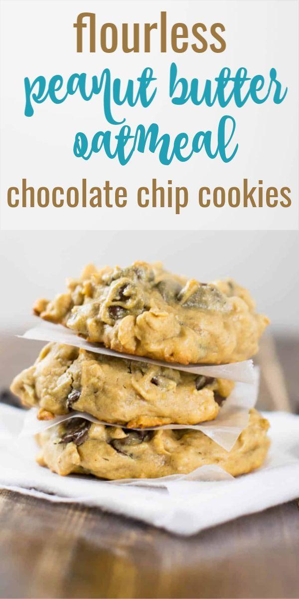 Mehllose Erdnussbutter-Haferflocken-Schokoladenkekse – diese sind so einfach zu m …