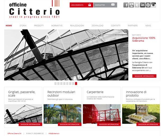 Il sito web delle Officine Citterio, specializzate nella lavorazione dei metalli per la produzione di grigliati, recinzioni e strutture in carpenteria. http://www.citterio.it #webdesign