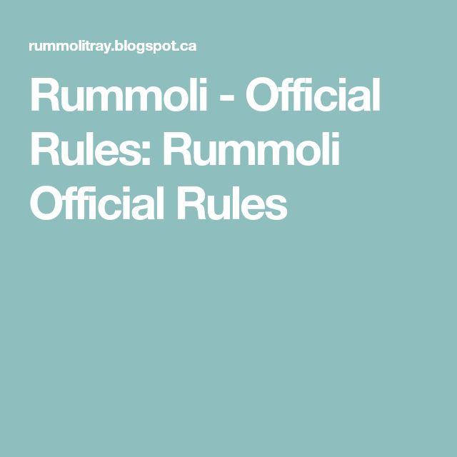 Rummoli - Official Rules: Rummoli Official Rules