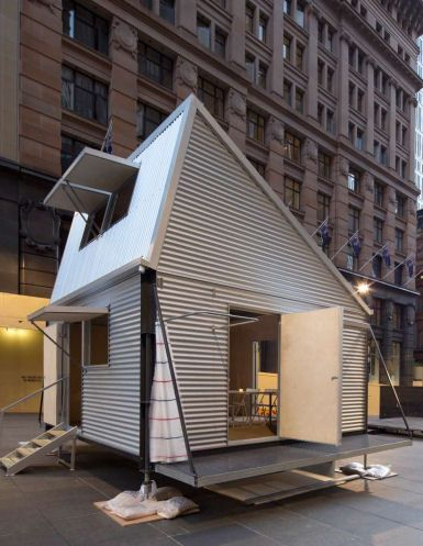 Designed by award winning Australian architecture practice CarterWilliamson, GRID house can be built if necessary in 3 and a half hours flat. It houses 8 to 10 people, and includes sustainable features like solar panels and natural light and airflow, and even a mezzanine level for sleeping and privacy.