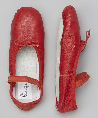 Red Leather Ballet Shoe - Women