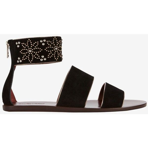 See By Chloe Studded Ankle Cuff Suede Flat Sandal: Black (8.612.455 VND) ❤ liked on Polyvore featuring shoes, sandals, black, strap sandals, strappy sandals, black sandals, flat sandals and ankle cuff flat sandal