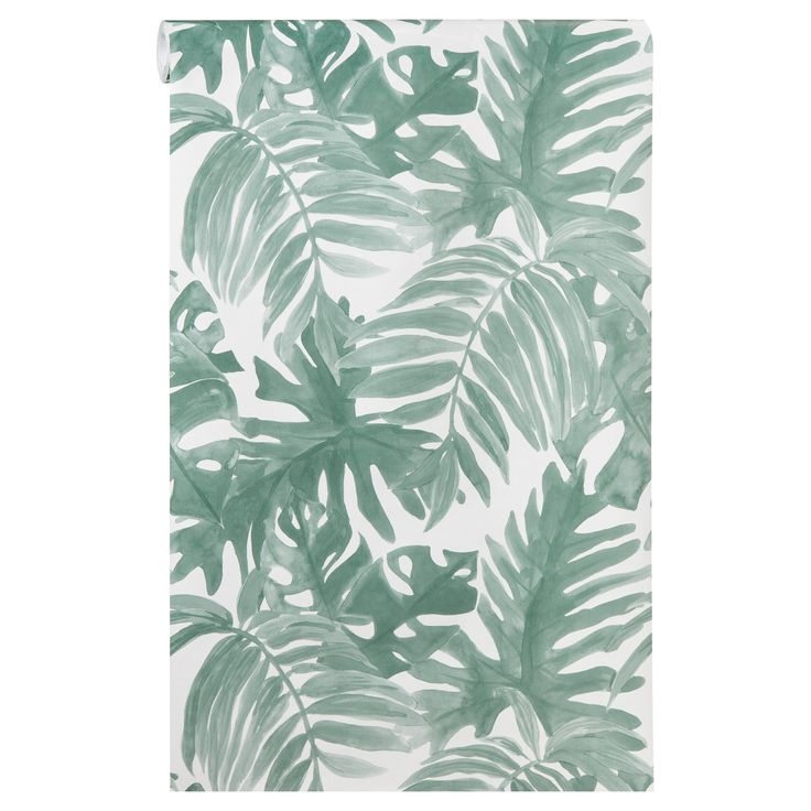 Vliesbehang met een groene botanische print. Plakken met Perfax Roll-On. #behang #botanisch #groen #vliesbehang #kwantum