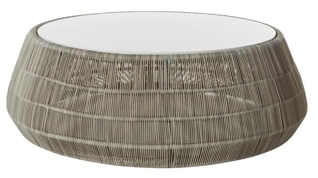 Riviera Round Coffee Table in Whitewash Polyrod #globewest #contemporary #style #outdoor #furniture