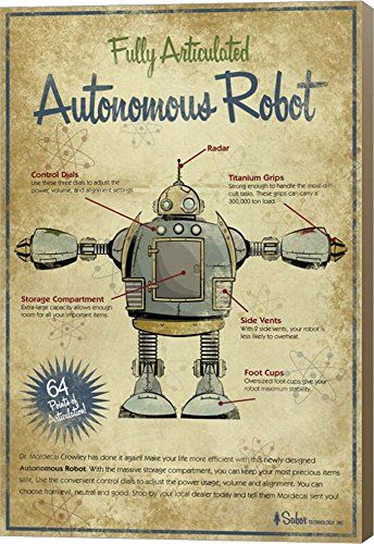 Autonomous Robot by Michael Murdock Canvas Art Wall Picture, Museum Wrapped with Light Brown Sides, 19 x 28 inches