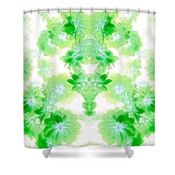 Unique Green Flower Bed Design Shower by HeatherJoyceMorrill