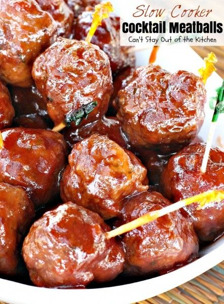 Slow Cooker Cocktail Meatballs ~ Use ground turkey, Sweet Baby Ray's BBQ Sauce and grape jelly