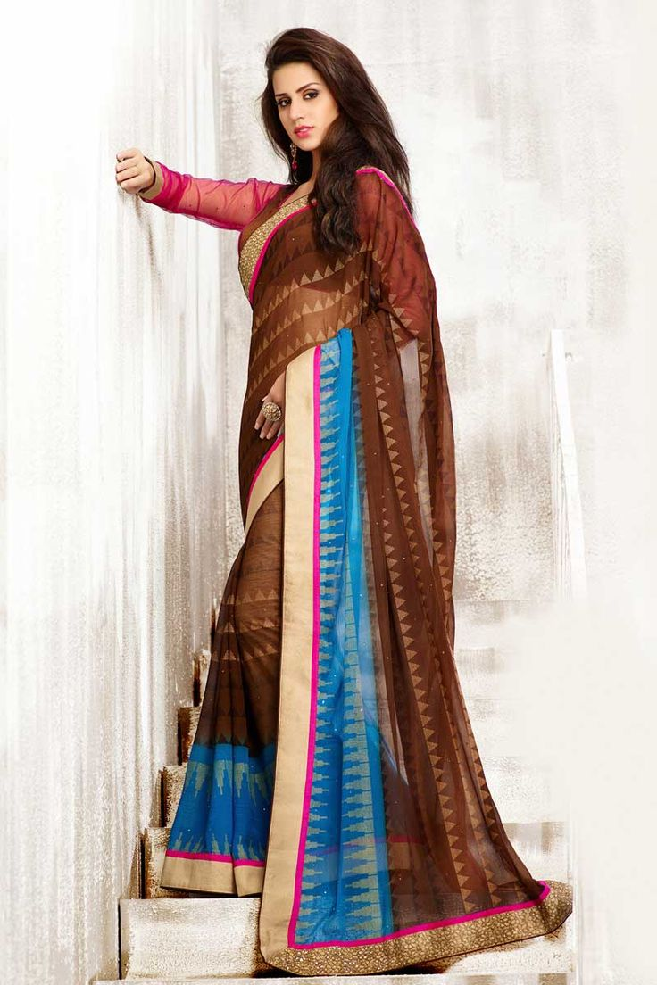 Beige Brown Chiffon Saree with Art Silk Blouse Price:- 56,77 €  Designer festival Sari collection with blouse are now in store presented by Andaaz Fashion like Beige Brown Chiffon Saree with Art Silk Blouse. This Saree is embellished with Embroidered, Resham, Stone, Zari, work and designed with Lace Border Designer Pallu, U Neck Blouse, Full Sleeve. This is prefect for Party, Wedding, Festival, Ceremonial http://www.andaazfashion.fr/beige-brown-chiffon-saree-with-art-silk-blouse-dmv7761.html