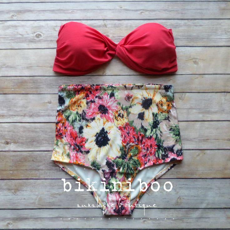 Twist Bandeau Bikini  Vintage Style High Waisted by Bikiniboo, $49.00