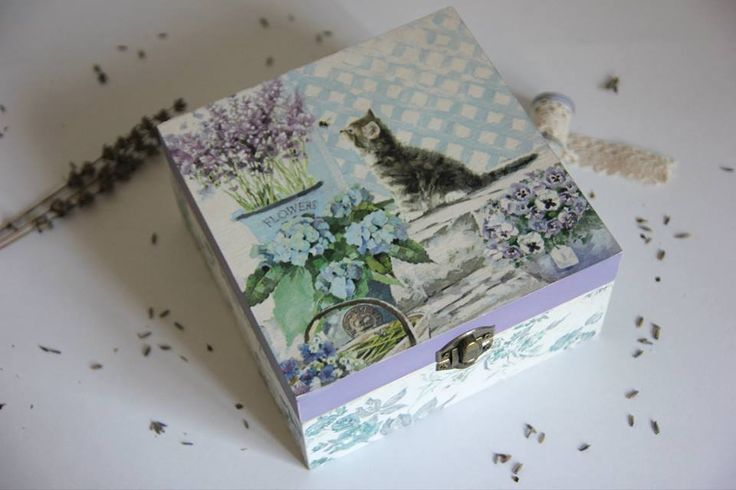 decoupage, chabby chic, cat, decoupage box,  decoupage cat