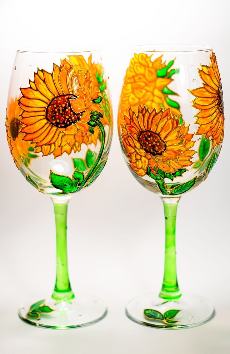Sunflowers Wine Glasses Personalized, Gardening Gift Hand Painted Wine Glasses, Stocking Stuffers for Wife, #Bridesmaids Glasses
