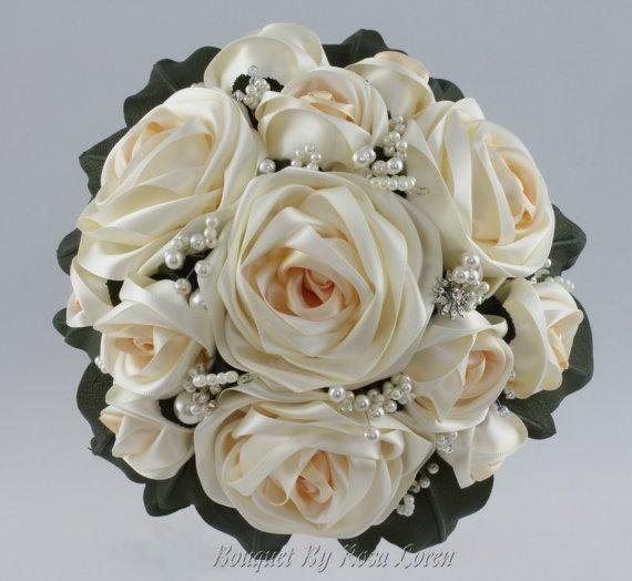Rosa Loren signature cream satin rose bouquet  www.bouquetbyrosaloren.etsy.com