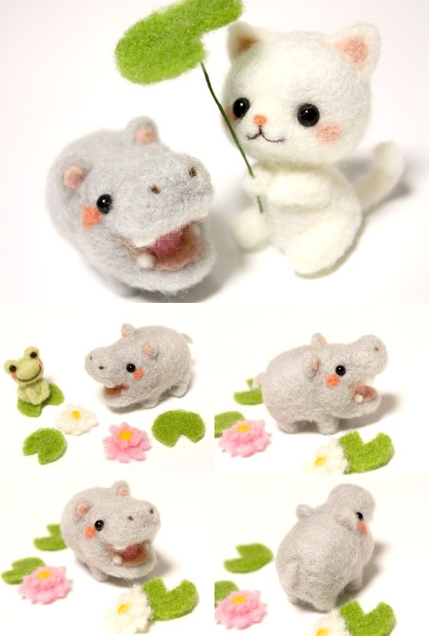Needle felted felt felting cat kitty neko hippo hippopotamus frog froggy kawaii