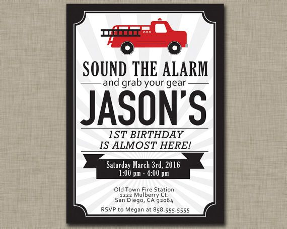 Fire Truck Birthday Invitation / First by JustAddPaperDesigns