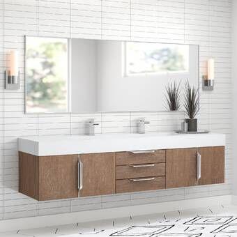 Tenafly 72 Wall Mount Double Bathroom Vanity Set Reviews Allmodern Double Vanity Bathroom Wall Mounted Bathroom Cabinets Bathroom Design