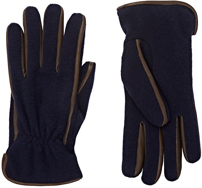 Barneys New York Men's Leather-Trimmed Knit Gloves-NAVY