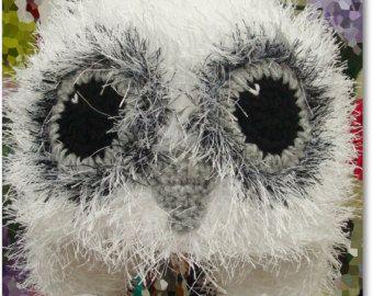 Owl Hat Crochet Owl hat White Owl Hat Polar Owl Hat Fluffy Hat Hedwig Hat Christmas Gift, Snowy Owl Hat Warm owl Hat Winter Owl Hat