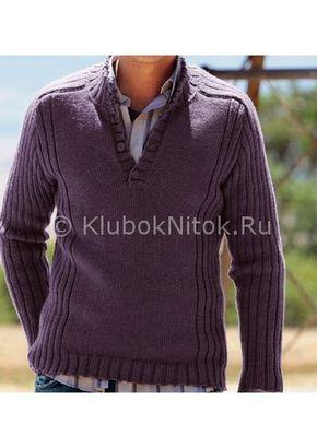 Темно-сиреневый пуловер | Вязание мужское | Вязание спицами и крючком. Схемы вязания.