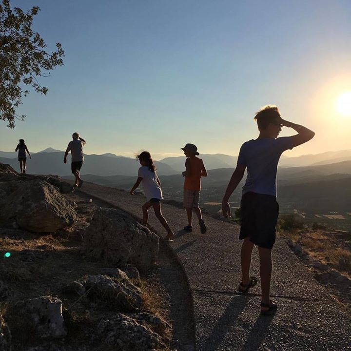 Exploring the Mycenaen  palace of Agamemnon while  taking in the breathtaking  hills and valleys of central  Argolida.   #stunning #sunset #peloponnese #explore #travelwithkids #greece #adventure #explore #travel #vsco #iphone #familyvacay #travelgreece #instatravel #adventurouskids #wanderlust #reasonstovisitgreece #handofgreece