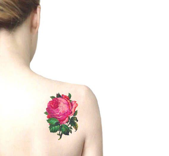 Pink Rose big temporary tattoo / floral illustration tattoo /