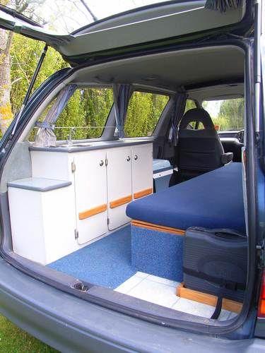 Turn a mini van into a simple camper van (link doesn't work, just pic)