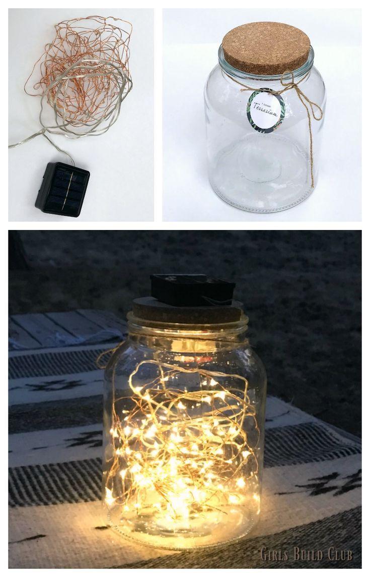 Make A Star Jar With Solar Fairy Lights Girls Build Club Solar Fairy Lights Fairy Lights Diy Outdoor Fairy Lights