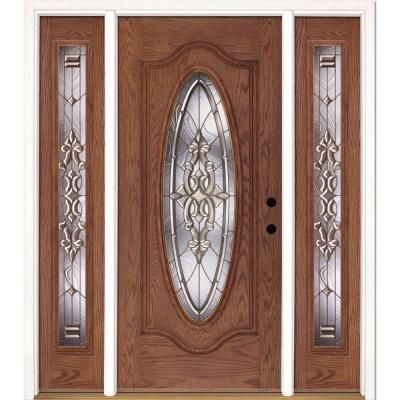 Feather River Doors 63 5 In X 81 625 In Silverdale Brass Full Oval Stained Medium Oak Left Hand Fibe Wood Front Doors Glass Front Door Fiberglass Entry Doors