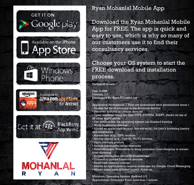 Mobile App - Ryan Mohanlal Ltd  Finally the Ryan Mohanlal App 1.0 is online in the Amazon Android Store :) We launched it some hours ago. Soon new features will be available for several Consultancy services.   Choose your OS system to start the FREE download and installation process. Or scan the QR Scanner code with your smartphone to start the installation wizard.  Ryan Mohanlal | Professional Consultant