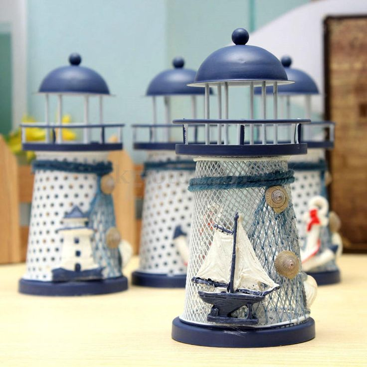 Mediterranean iron lights house craft ornaments Ocean Home Decor with Light #UnbrandGeneric