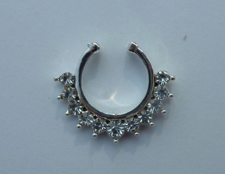 Fake septum ring, fake crystal titanium septum ring, fake nose ring, fake crystal titanium nose ring, fake nose ring, fake septum ring, S37