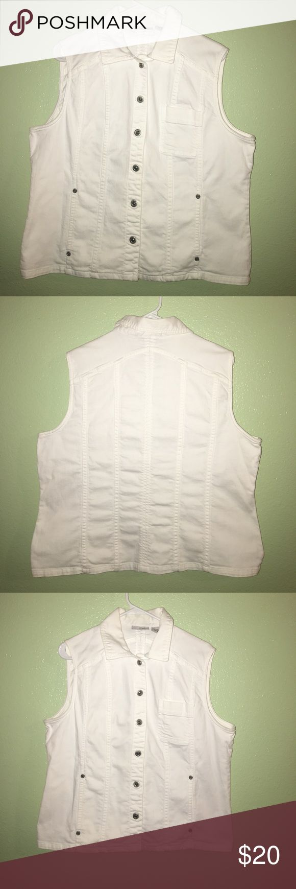 Chico's White Denim Vest 98% cotton 2% Lycra in great condition no spots or stains no holes or tears. Chico's Jackets & Coats Vests