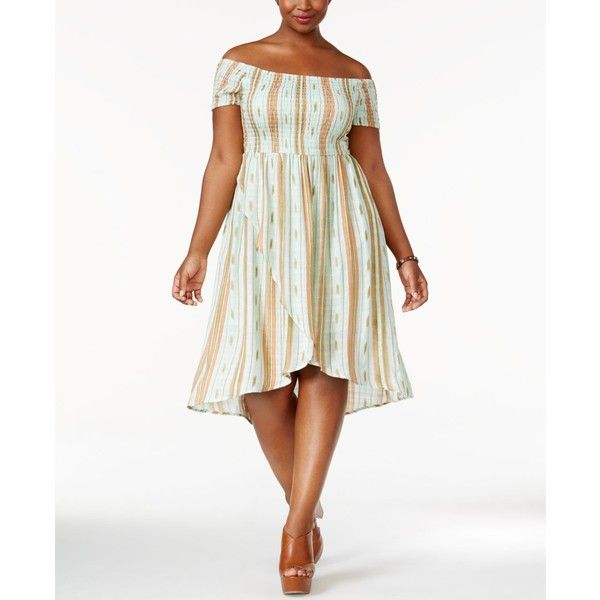 American Rag Trendy Plus Size Off-The-Shoulder A-Line Dress, ($70) ❤ liked on Polyvore featuring plus size women's fashion, plus size clothing, plus size dresses, misty jade combo, plus size day dresses, white day dress, a line shape dress, off the shoulder dress and plus size off shoulder dress