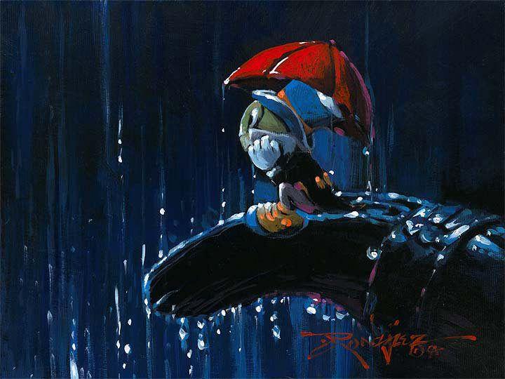 Jiminy Cricket in rain