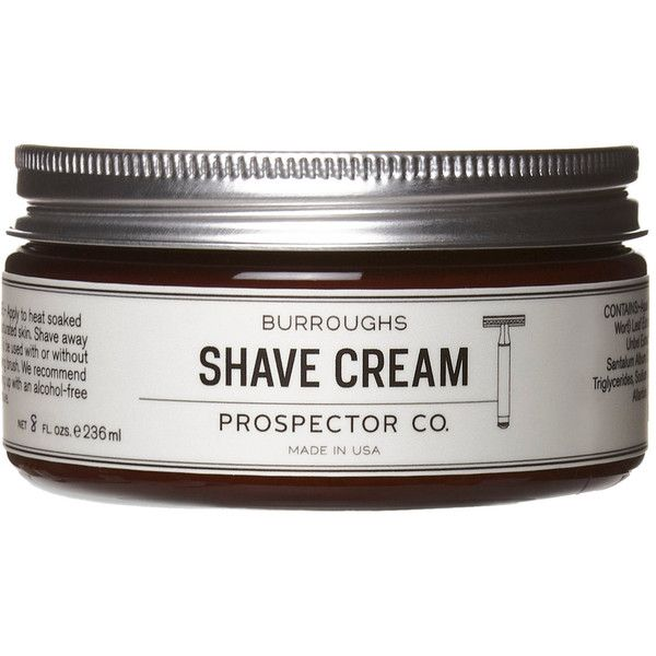 Prospector Co. Men's Burroughs Shave Cream ($20) ❤ liked on Polyvore featuring men's fashion, men's grooming, men's shaving, colorless, mens hair brush and mens grooming
