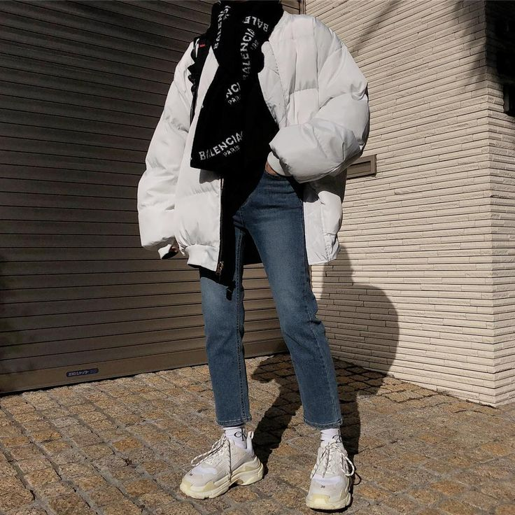 Balenciaga sneakers + white puffer jacket + 90s inspired
