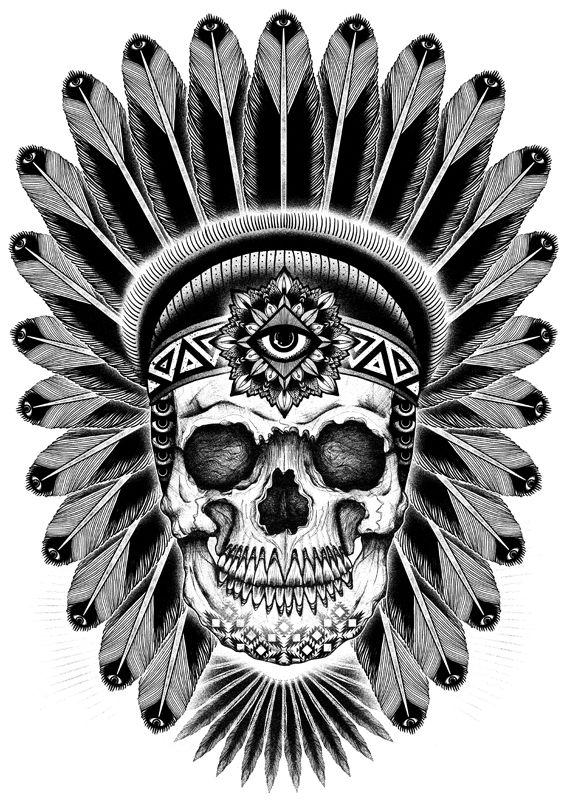 Indian skull Tattoo tom_gilmour_tattoo_art_design_271