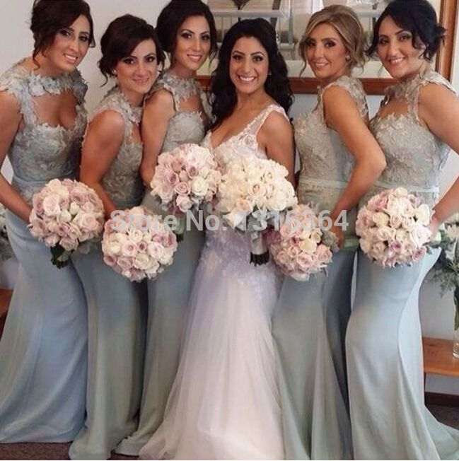 Find More Bridesmaid Dresses Information about Top Selling Mermaid Long Satin Silver Bridesmaid Dresses! High Collar A line Lace Gray/Pink/Blue/Coral/Hunter Bridesmaid Gowns,High Quality dress back,China gown ball dress Suppliers, Cheap gown modeling from Suzhou Yast Wedding Dress Store on Aliexpress.com