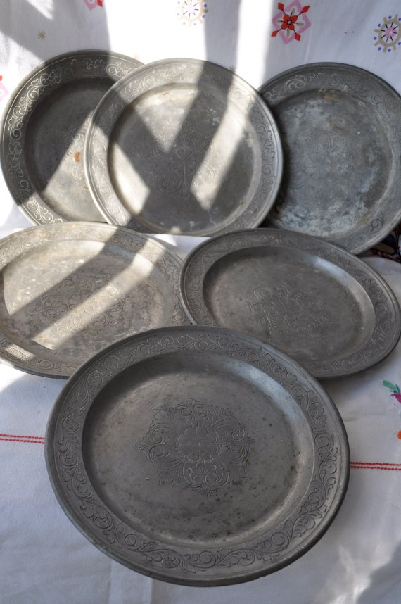 Vintage Pewter Charger Plates  (Wouldn't I LOVE to find a set of these?!)