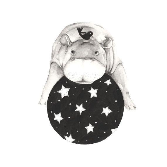 Balancing Hippo, A4 print, 21cm x 29.5cm, unframed