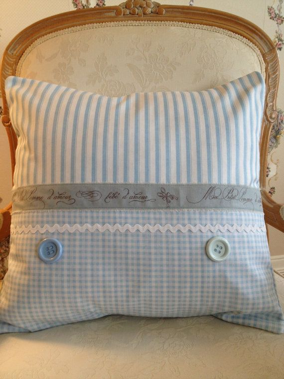 Country French Pillow Cover for BEBE, Shabby Chic Baby Pillow Cover, Baby Blue Pillow Cover, Paris Bebe Pillow Cover, Baby Blue Gingham