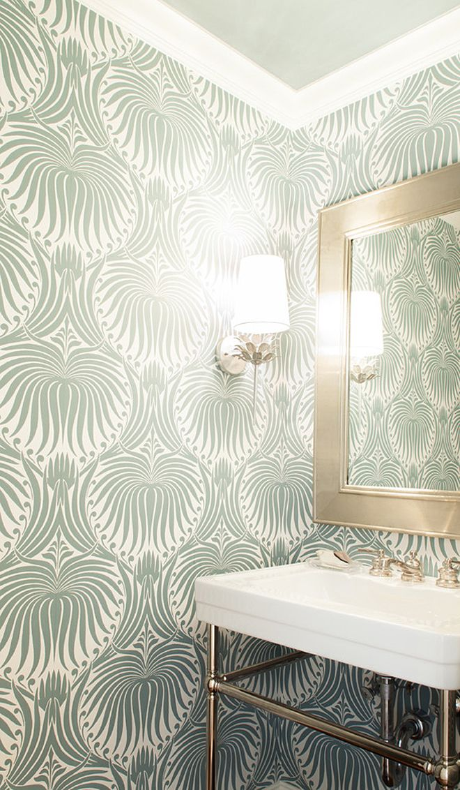 wallpapered powder bath | Nest Design Co.